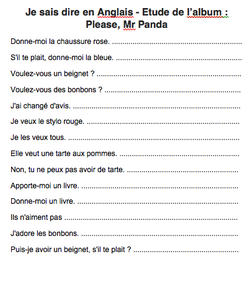 Je sais dire en Anglais ... Brown Bear, Brown Bear et Mr Panda