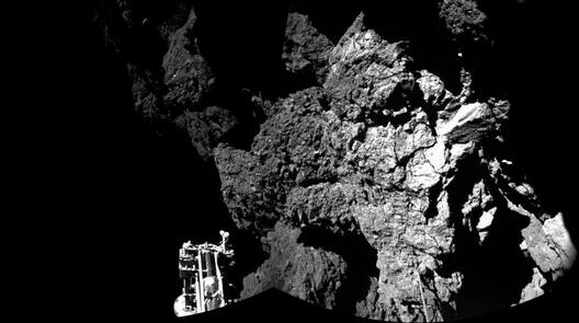 La première photo de la comète Tchouriprise et envoyée par le robot Philae, le 13 novembre 2014.