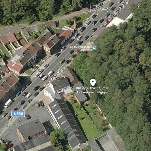 La Louvière - rue de l'Olive - vue aérienne du Temple