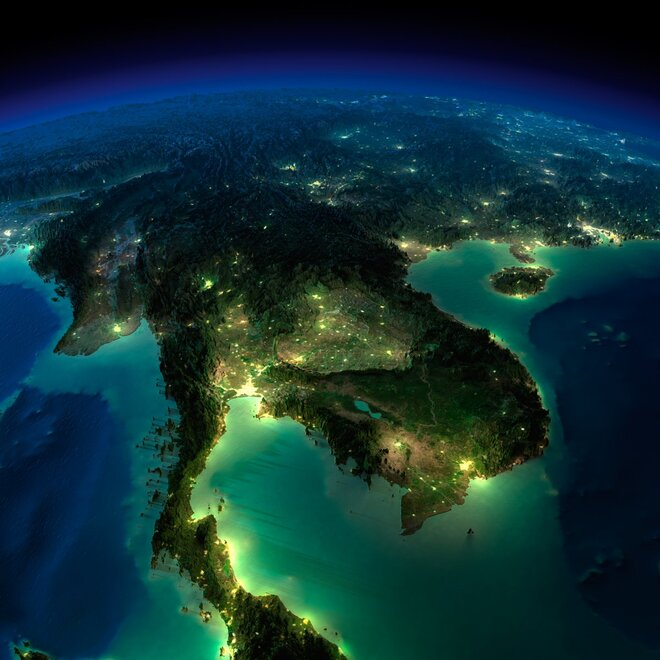earth night photos southeast asia