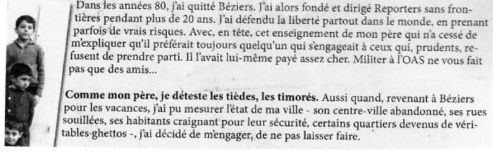 C'était en 2014 : Les nostalgériques et les ex OAS ne désarment pas à Béziers. Robert Ménard candidat soutenu par le FN envoie aux Pieds Noirs ce tract. Le candidat ne cache pas son accord avec l'OAS