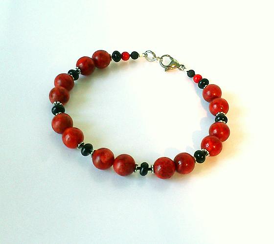 Réservé - Bracelet Homme Corail Eponge rouge et Onyx Noire / Métal argenté et Acier