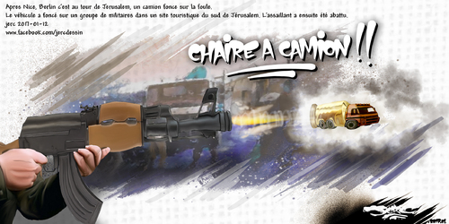dessin de JERC jeudi 12 janvier 2017 caricature camion bélier Pas d'amalgame. Un seul poids lourd  ne peut susciter la camionophobie. www.facebook.com/jercdessin