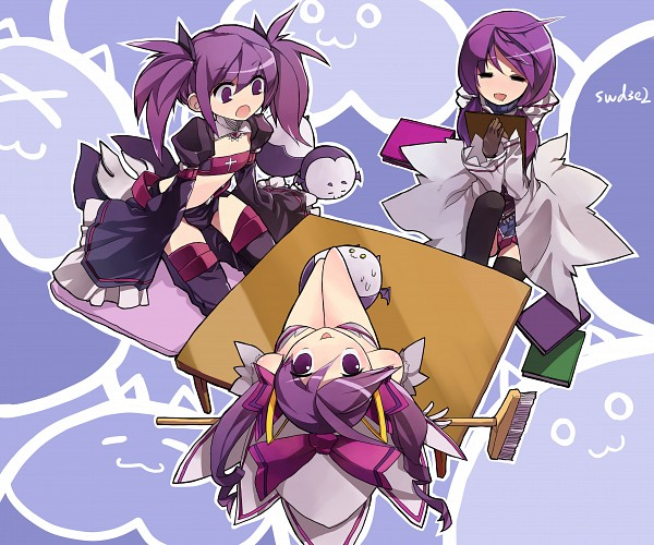 Tags: Anime, Broom, Bats, Table, Upside Down, Aisha (Elsword), Elsword
