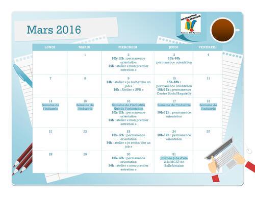 Le programme des vacances et du mois de mars