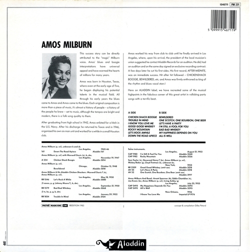 "Amos Milburn : Album "" Rockin' The Boogie "" Aladdin Records LP 812 [ US ] Unissued / "" Let's Have A Party LP Score Records SLP 4012 [ US ]"