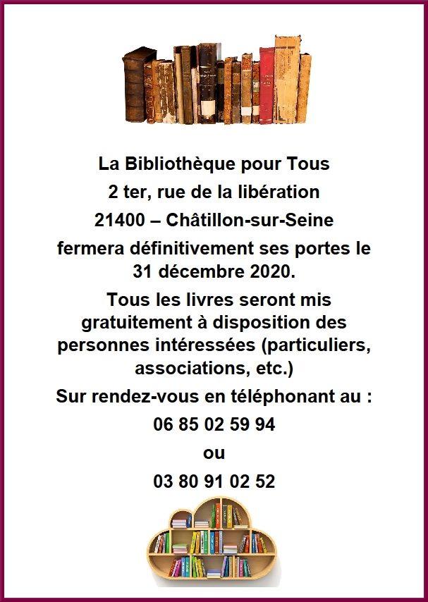 Une triste nouvelle : la Bibliothèque pour Tous ferme définitivement ses portes....