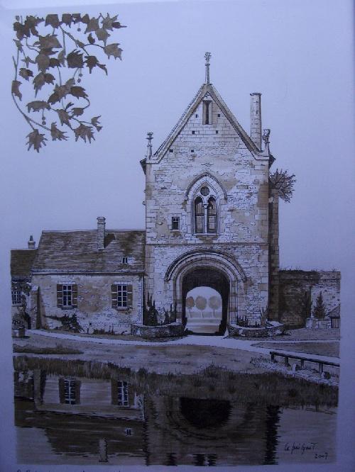 La Grange de Meslay - Plume réalisée par Michel LE BRIGANT Artiste Peintre en Touraine