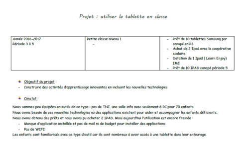 Utiliser la tablette en classe ( cycle 1)
