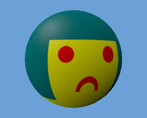 Le visage triste mappé sur la sphère