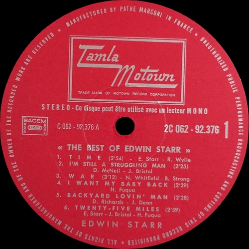 "Edwin Starr : Album "" The Best Of "" Tamla Motown Records 2C 062-92376 [ FR ]"
