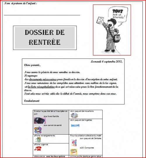 Le dossier de rentrée 2012