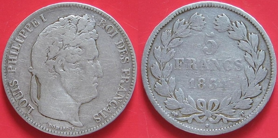 5 francs 1834 LOUIS PHILIPPE I