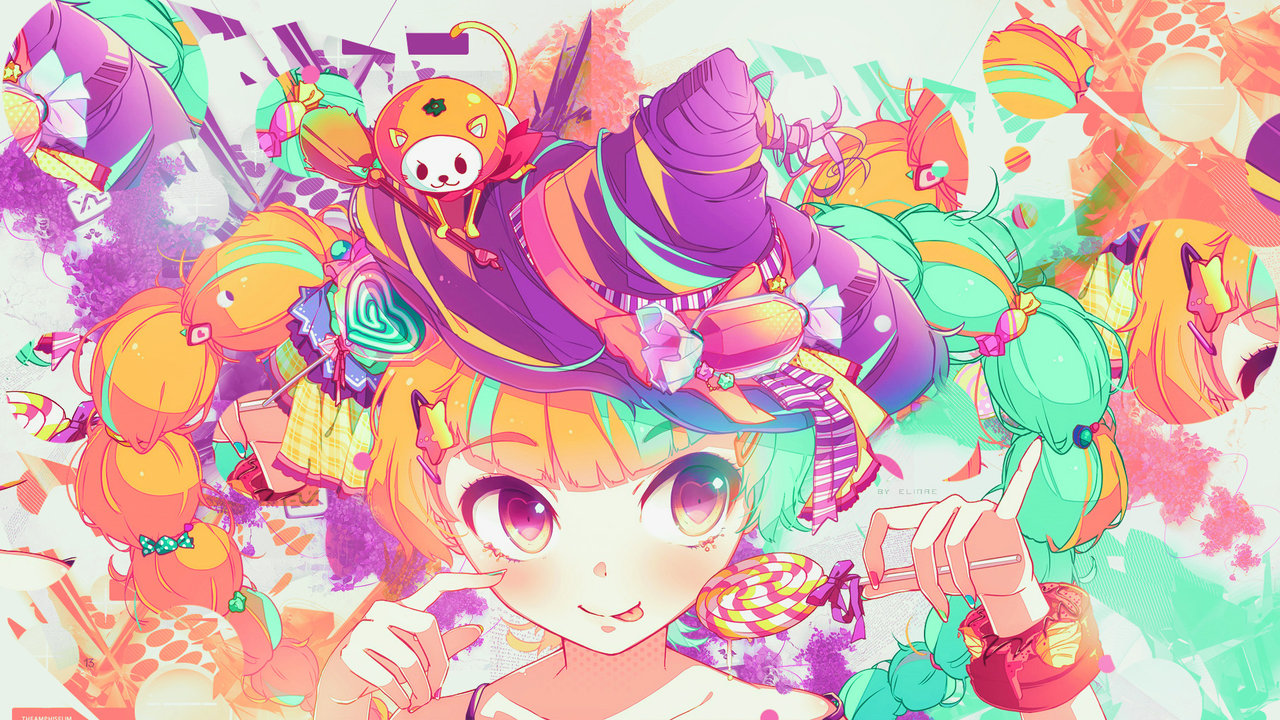 Wallpaper Colorful Kawaii Witch & Sweet