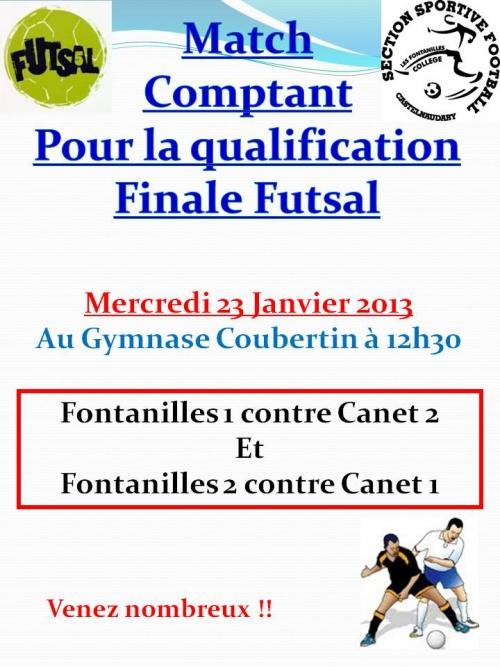 Match comptant pour la qualification en finale futsal