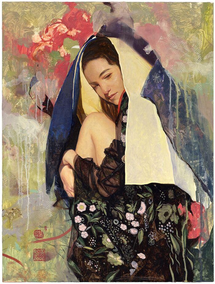 Peintures surréalistes de femmes sereines entourées d'un beau chaos de couleurs