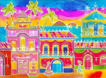peinture à l'encre village d'alleurs