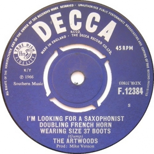 The Artwoods : I'm Looking For A Saxophonist Doubling French Horn Wearing Size 37 Boots