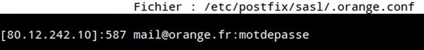 Configurer Postfix pour le smtp authentifié Orange