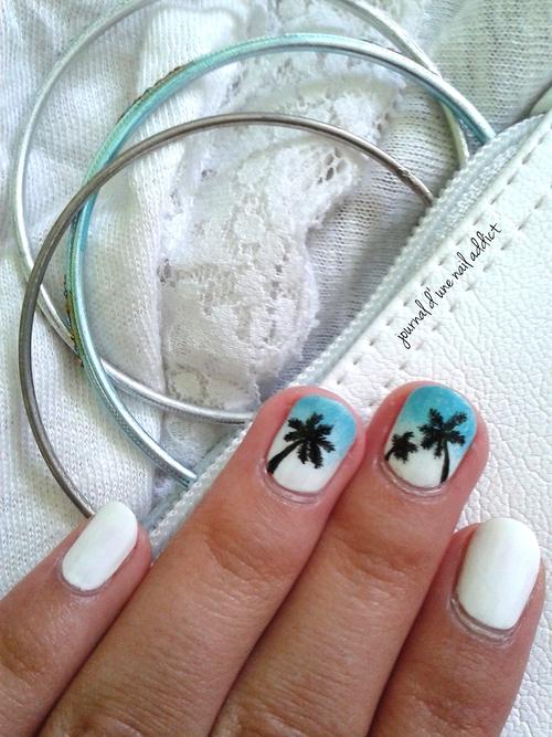 nail art palmiers et gradient / dégradé