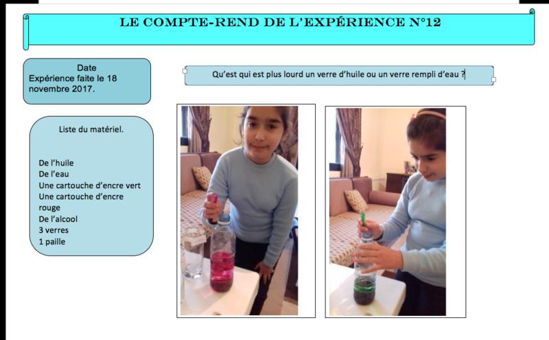 Objectif : relater une expérience scientifique avec l'outil informatique et numérique.
