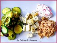 Assiette végétarienne : courgette, soja, quinoa