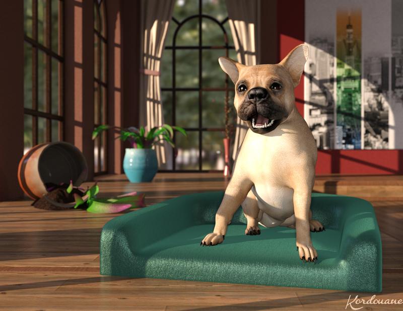 Un petit chien pas sage du tout (Daz Studio)