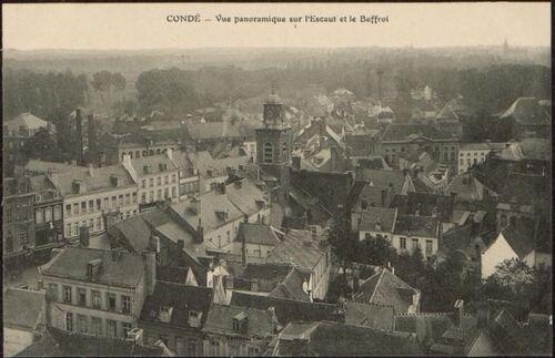 CONDÉ - Vue panoramique sur l'Escaut et le Beffroi (patrimoine-numerique.ville-valenciennes.fr)