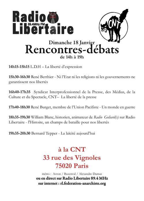 Programmation des débats du 18 janvier