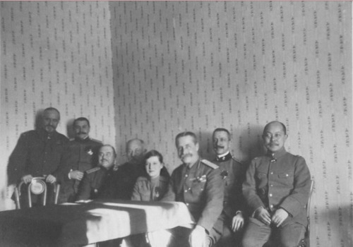 Tsarevich Alexei Nikolaevich of Russia with Russian generals at Mogilev.