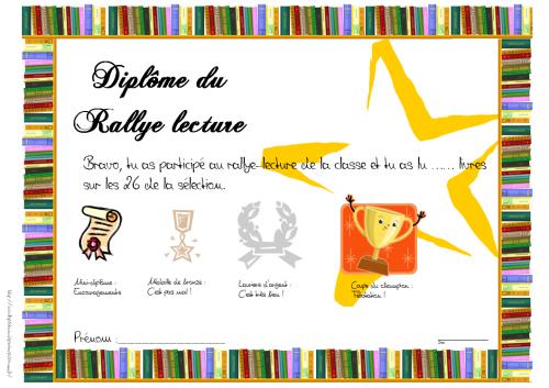 français : rallye-lecture - CM - diplôme