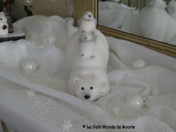 famille ours polaires , déco Noël