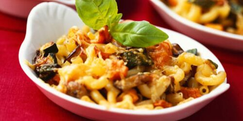 Gratin de macaronis aux légumes