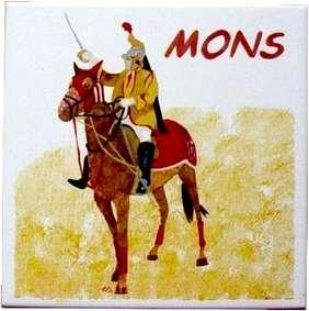 Carreau de faïence peint: Saint Georges de Mons - Arts et sculpture: artisan d'art, peintre, sculpteur, designer