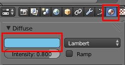CLiquer sur le bouton Material puis choisir une couleur dans le panneau Diffuse