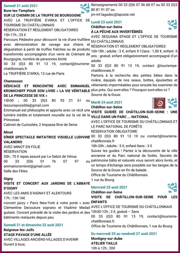 Activités d'août 2021 à l'Office du Tourisme du Pays Châtillonnais