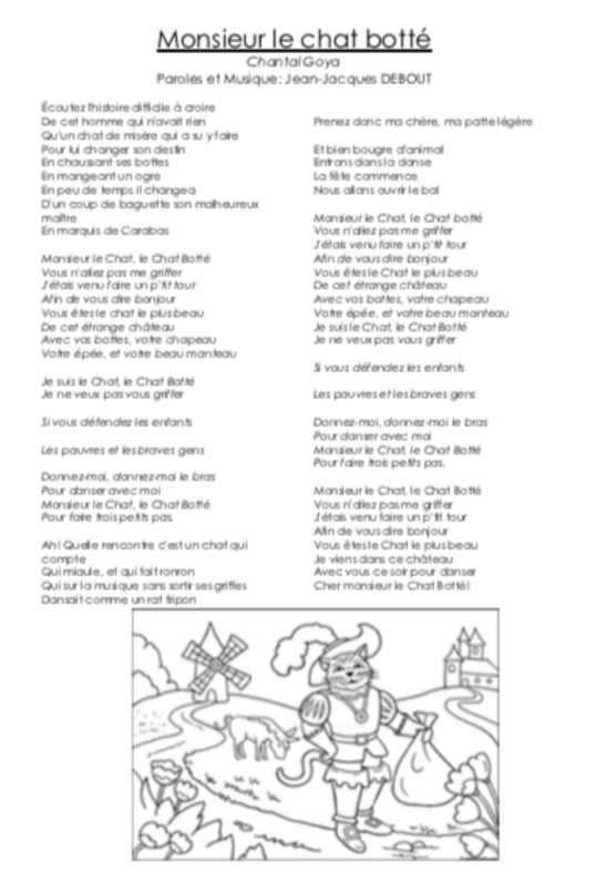 Paroles « Monsieur le chat botté »