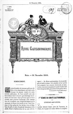 Revue gastronomique, 1851. Questions de truffe. illustration de la page de Pascal Ory, sur l'identité passe à table