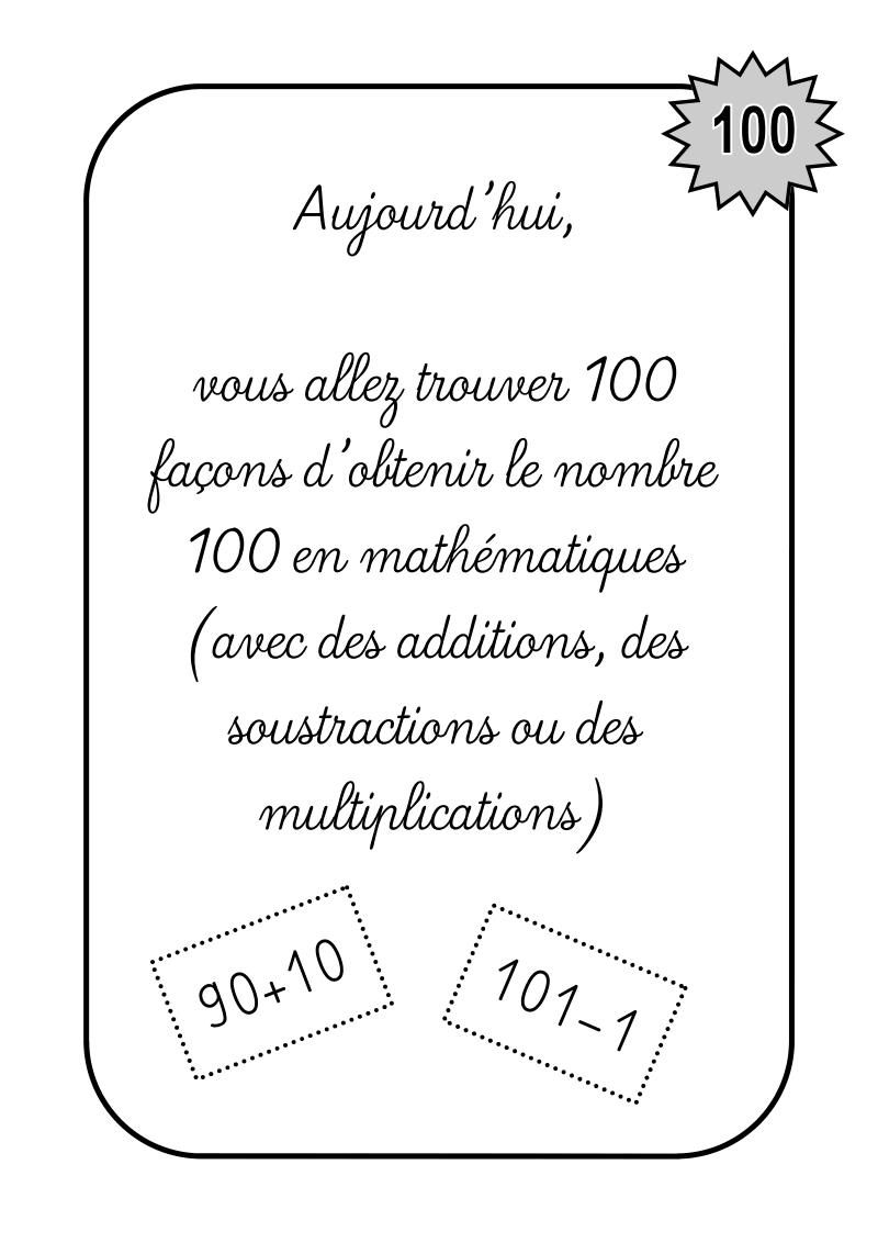 Activités en lien avec les 100 jours