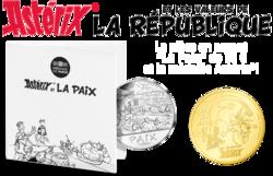 """La pièce Astérix """"La Paix"""" de 50 € et la médaille Astérix"""