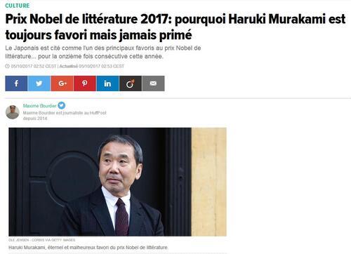 Kazuo Ishiguro, Nobel de littérature ... en attendant Murakami ?