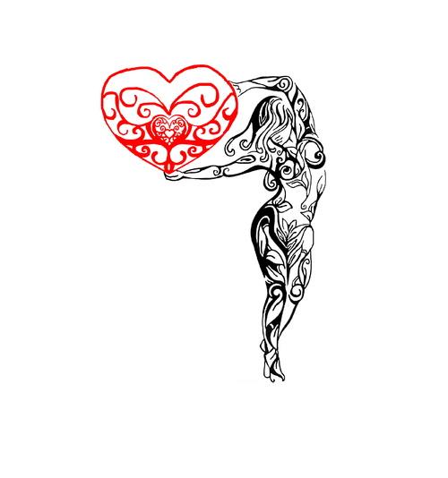 Femme  tatou cœur