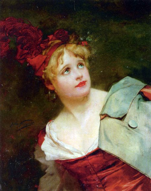 A Lady Wearing a Crimson Hat. Jules Adolphe Goupil (French, 1839-1883). Oil on panel. Goupil studied with Ary Scheffer and began  exhibiting at the Salon of 1857 when he was just 18 years old. He won medals in 1873, 1874, 1875 and 1878. He was known for painting genre scenes and portraits with a wonderful tightness and exactitude.