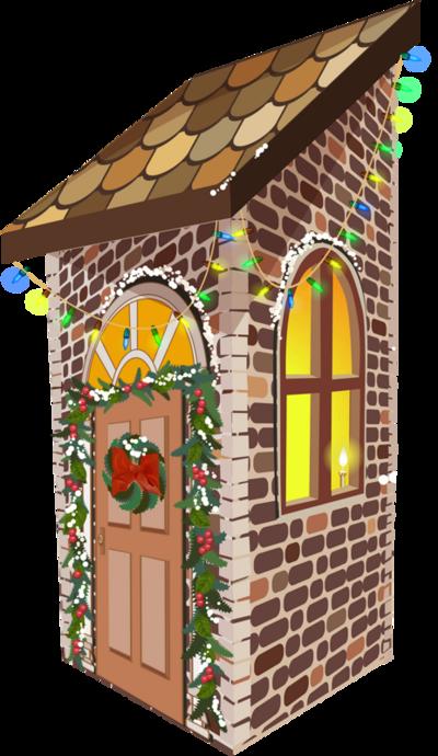 Tubes maisons de Noël en png