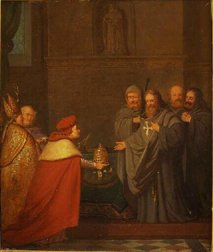 Amédée VIII recevant la tiare (Anthelme Trimolet, XIXe siècle, Chambéry ; musée des beaux-arts)