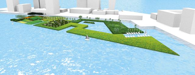 Dès 2014, le studio WHIM construira un îlot de 10km2 à Rotterdam, à partir de déchets récoltés dans une rivière de la ville néerlandaise. – WHIM Architecture