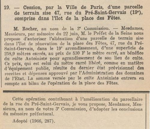 Rue du Pré-Saint-Gervais (Bulletin municipal officiel de la Ville de Paris 16 juillet 1966)