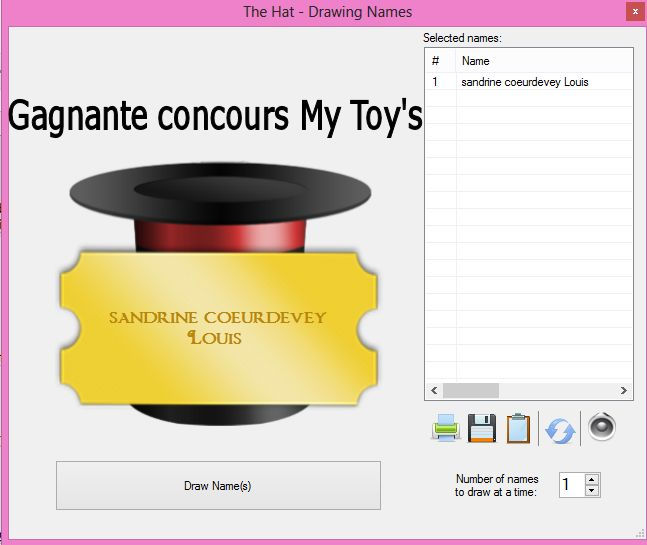 Gagnant concours My Toy's