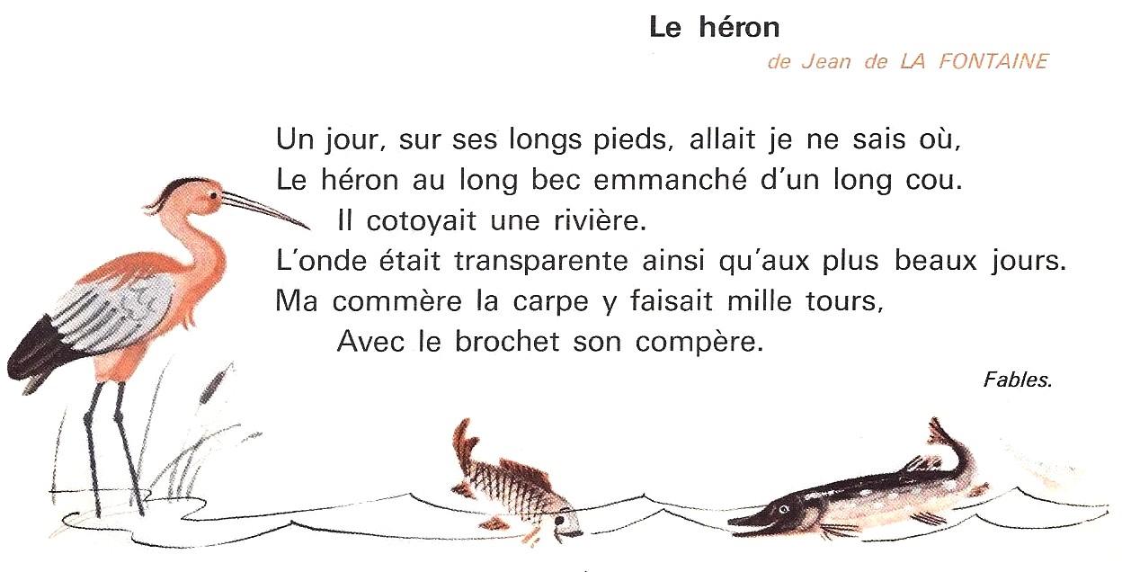 Le Héron Jean De La Fontaine Fables Extrait