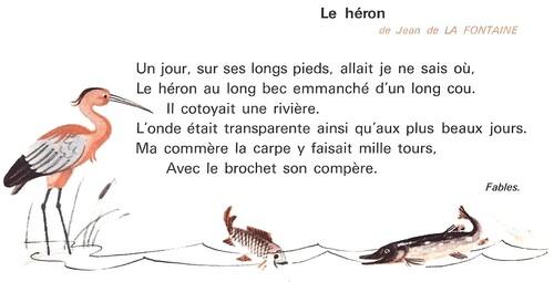 Le Héron Jean de La Fontaine extraits